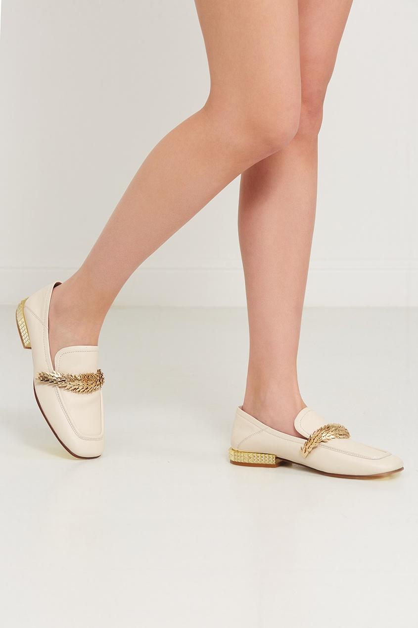 Туфли с золотистой отделкой Edgy, Бежевый, Туфли с золотистой отделкой Edgy