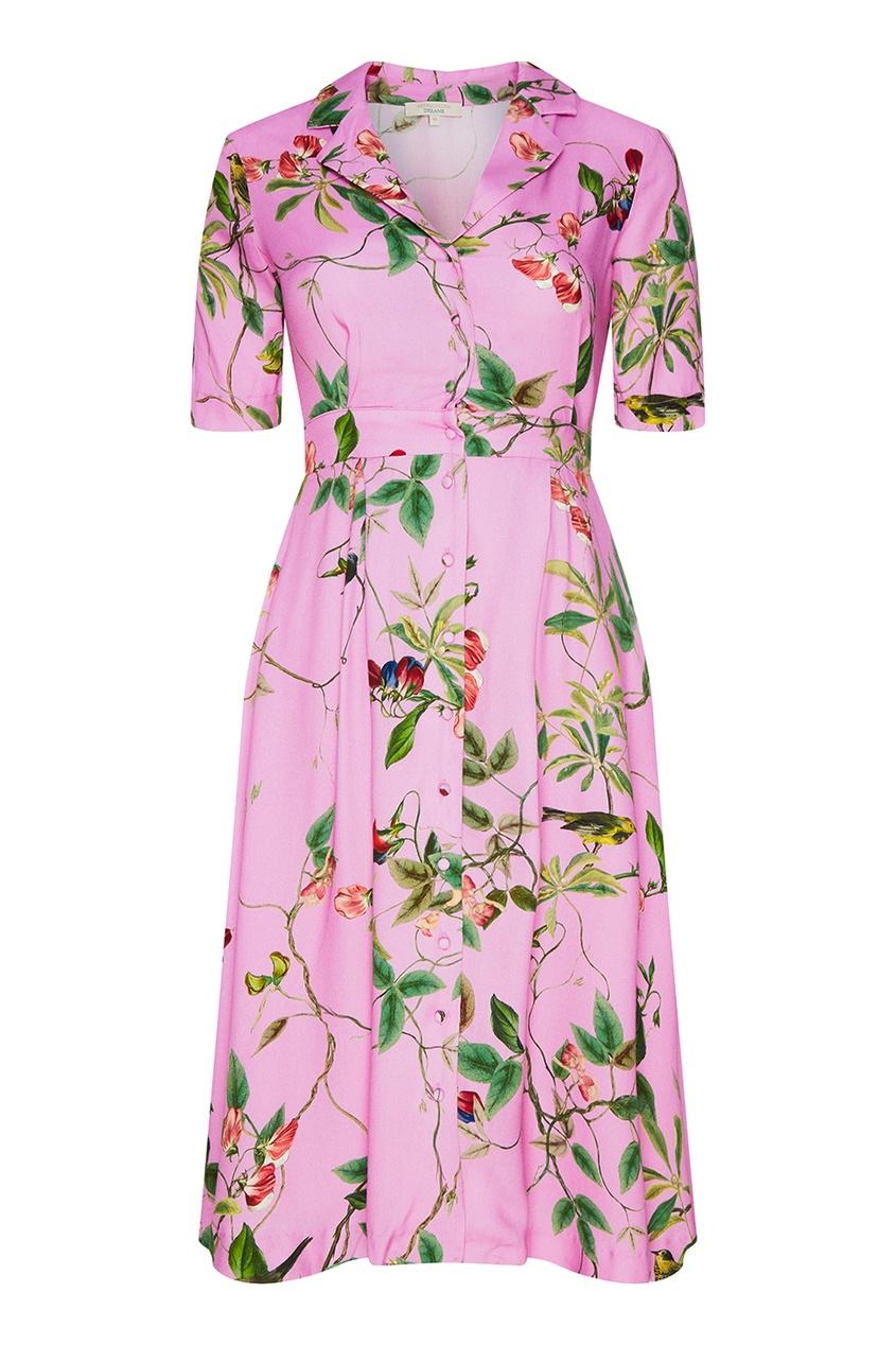 Розовое платье-рубашка с цветочным принтом
