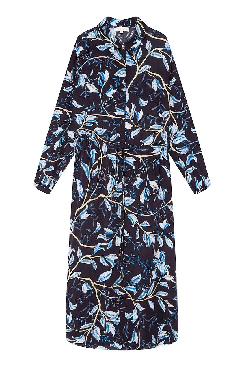 Синее платье-рубашка с листьями