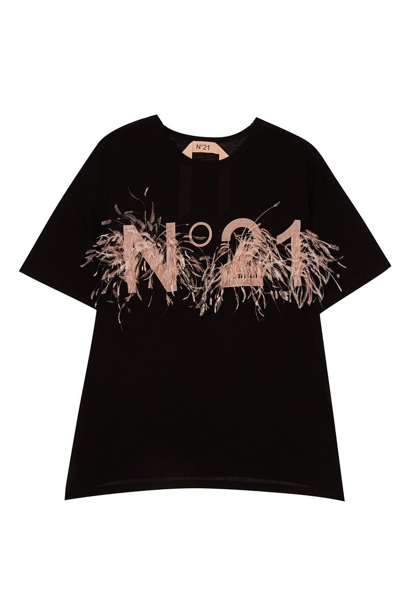 No.21 Черная футболка с логотипом и перьями no 21 хлопковая рубашка с перьями