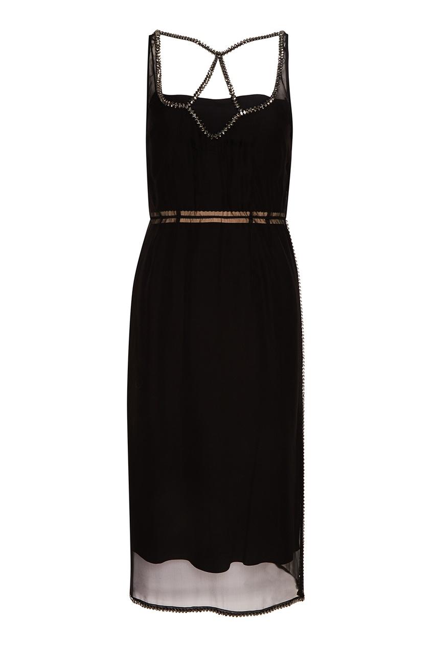 No.21 Черное шелковое платье с кристаллами