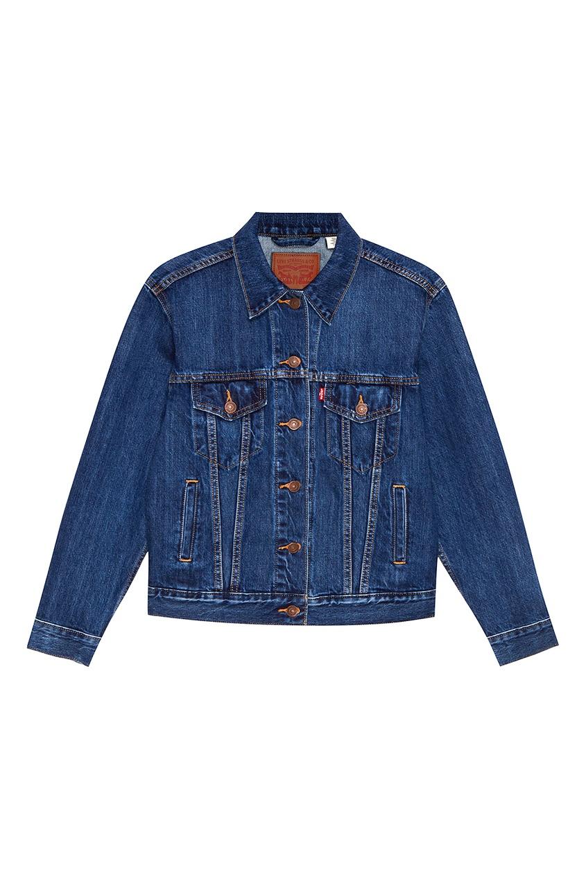 Levi's® Синяя куртка из потертого денима EXBOYFRIEND TRUCKER STOOP CULTUR levi's® ремень levi's® 7713420230