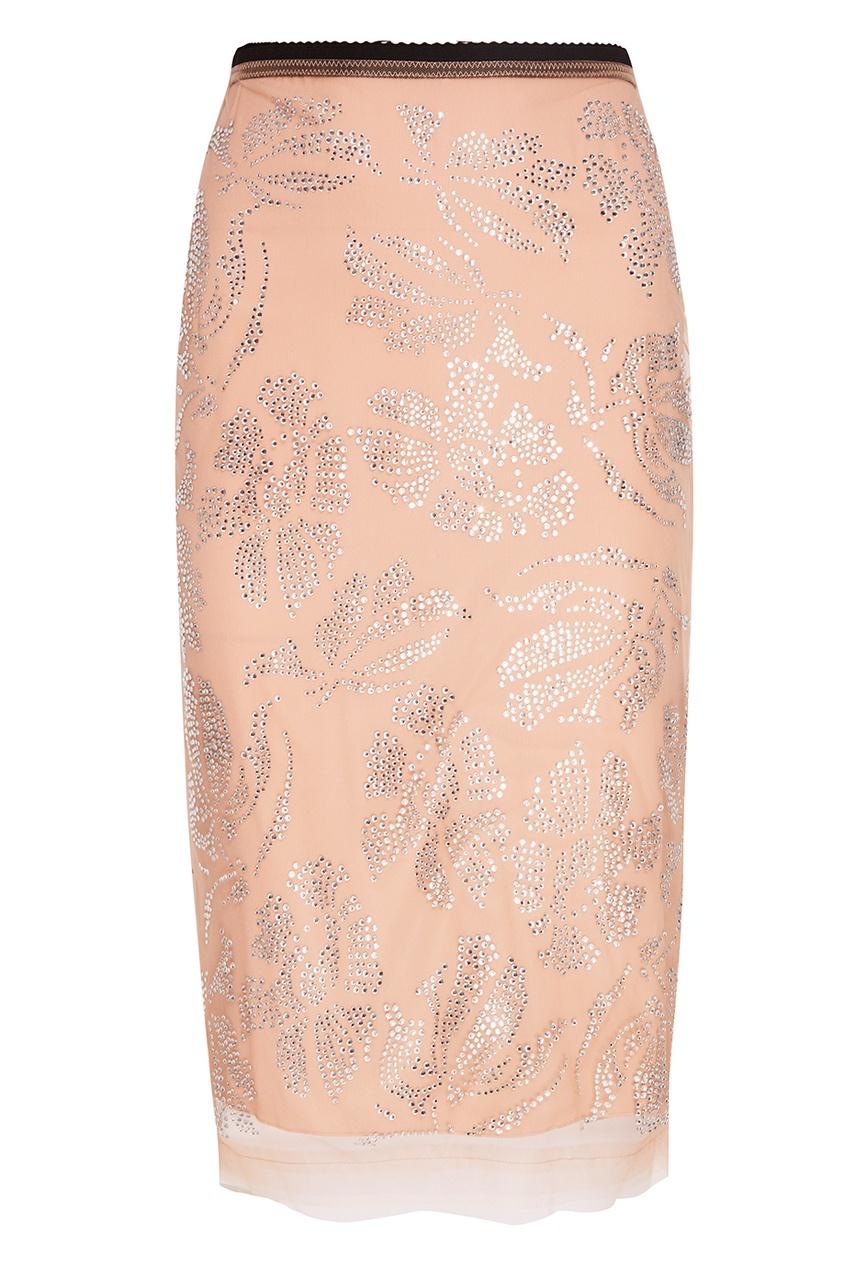 Бежевая юбка-карандаш с кристаллами No.21