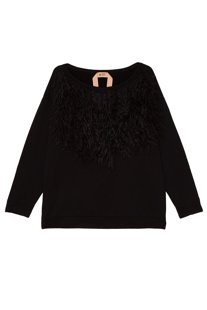 No.21 Черный свитшот с отделкой перьями no 21 хлопковая рубашка с перьями