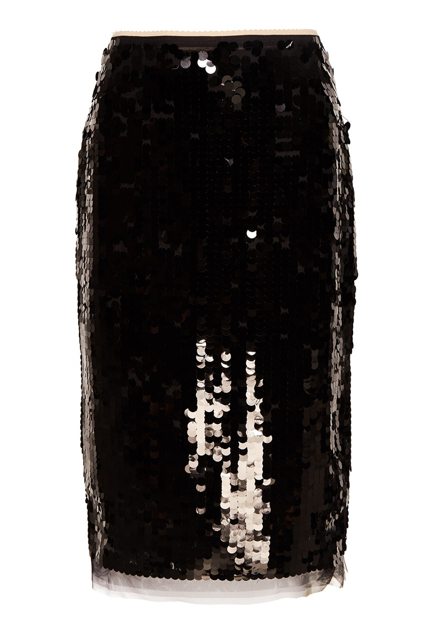 No.21 Черная юбка-карандаш с пайетками no name юбка с золотистыми пайетками
