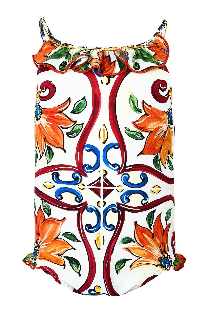 Слитный купальник с принтом и оборками Dolce&Gabbana Children