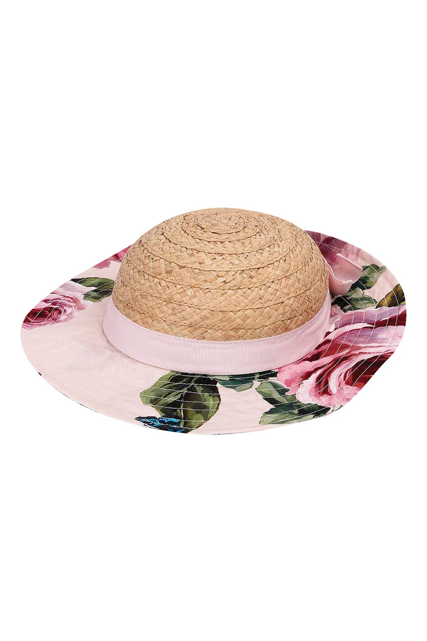 Соломенная шляпа с отделкой из ткани
