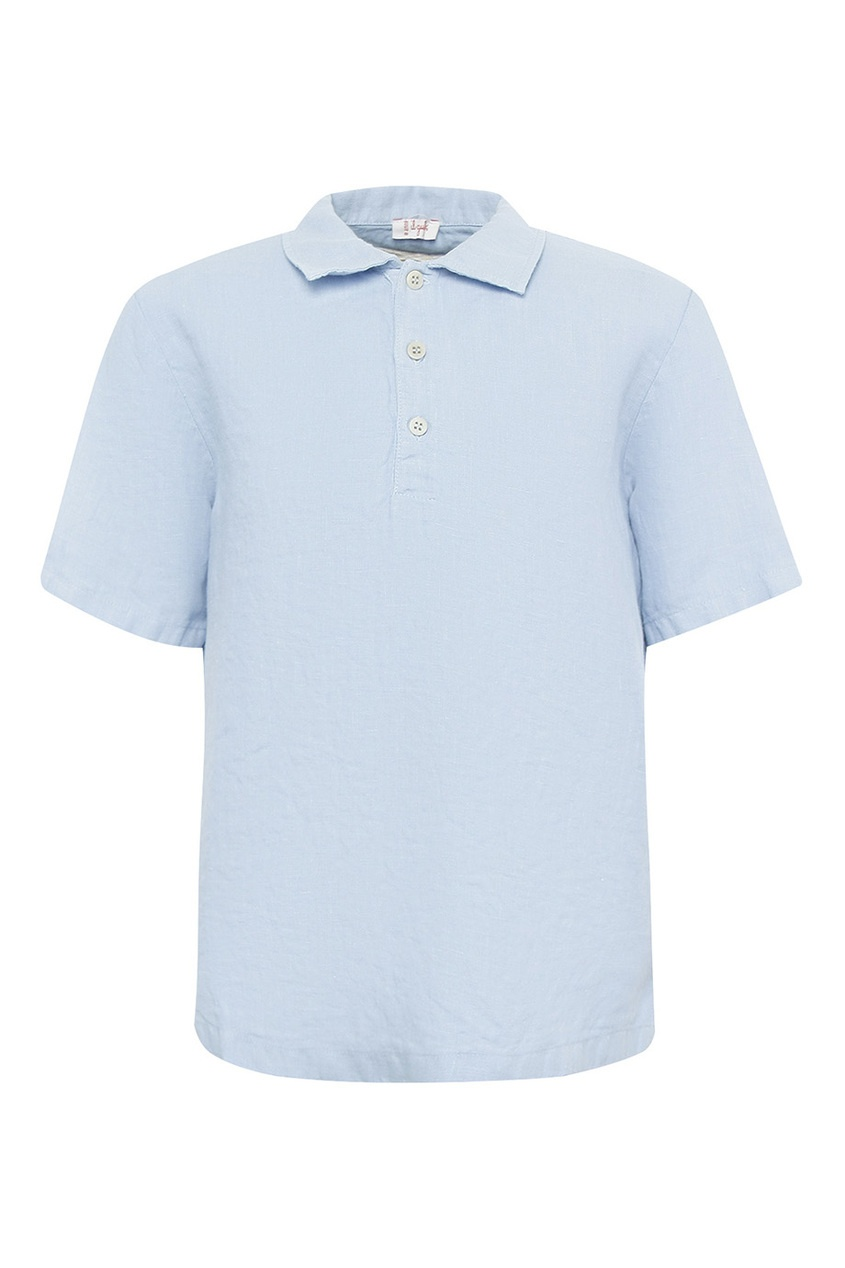 il Gufo Голубая льняная футболка-поло il granchio футболка
