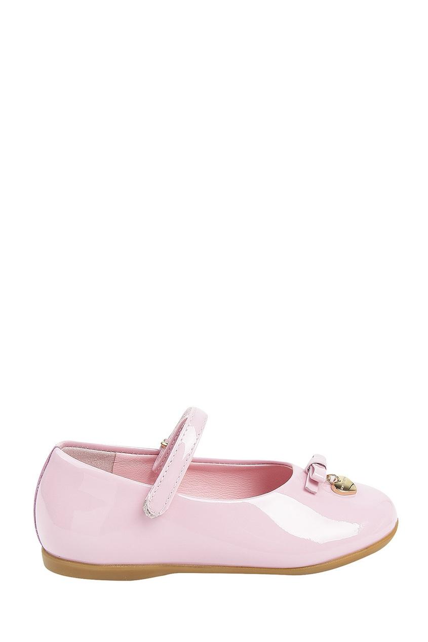 Розовые лакированные туфли с бантом