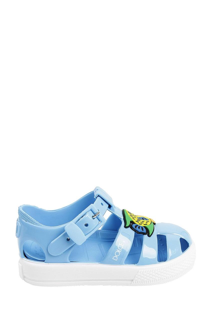 Голубые сандалии с аппликацией