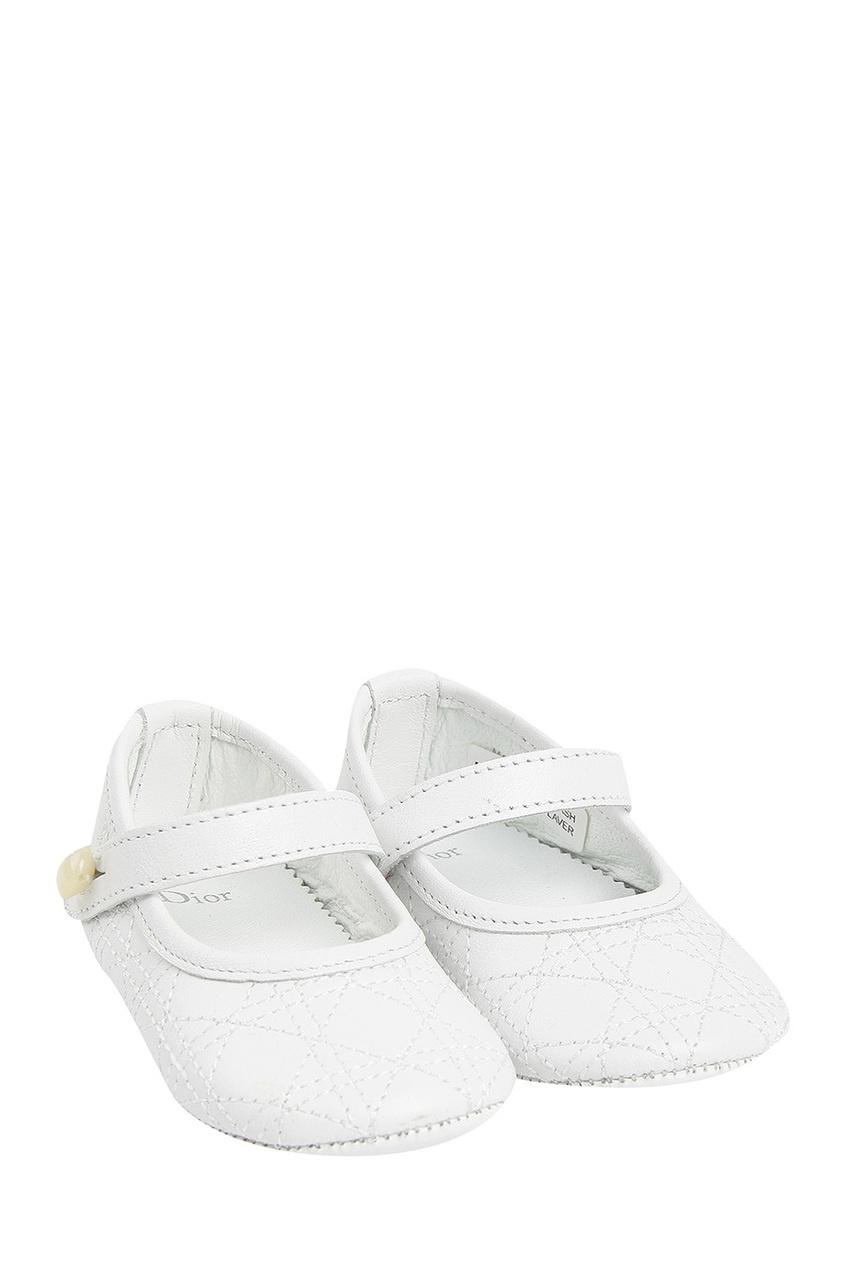 Кожаные белые туфли от Dior Kids