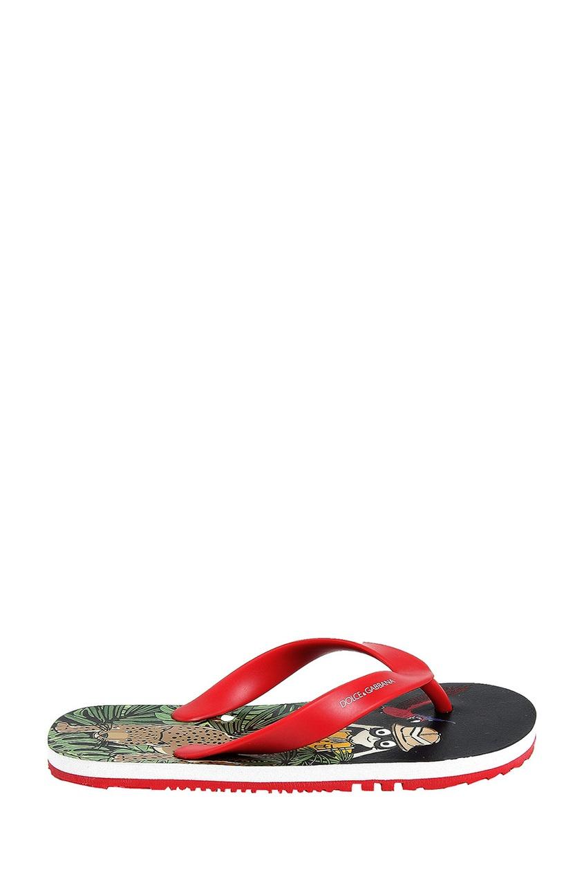 Цветные пляжные шлепанцы с принтом