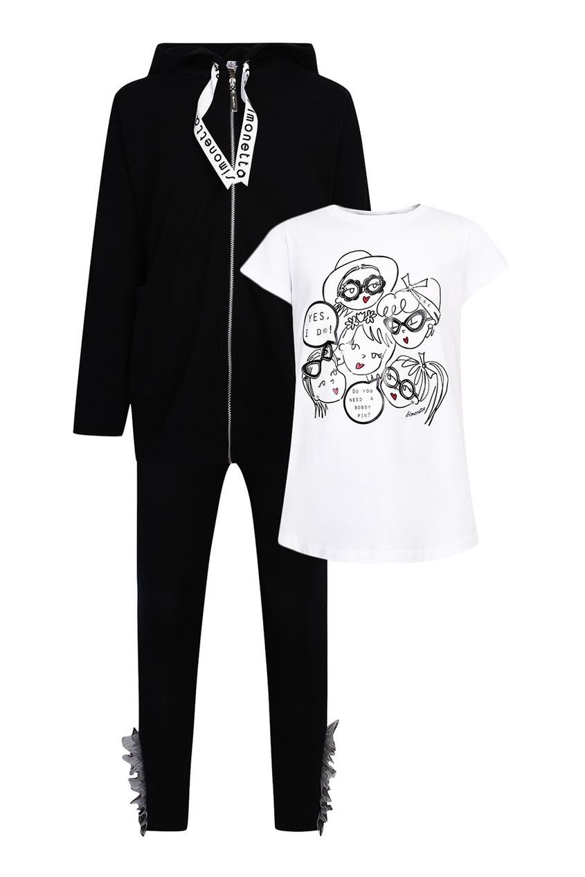 Комплект с футболкой, худи и брюками