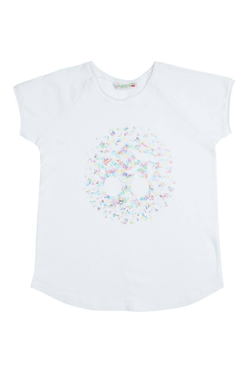 Хлопковая белая футболка с шелкографическим принтом