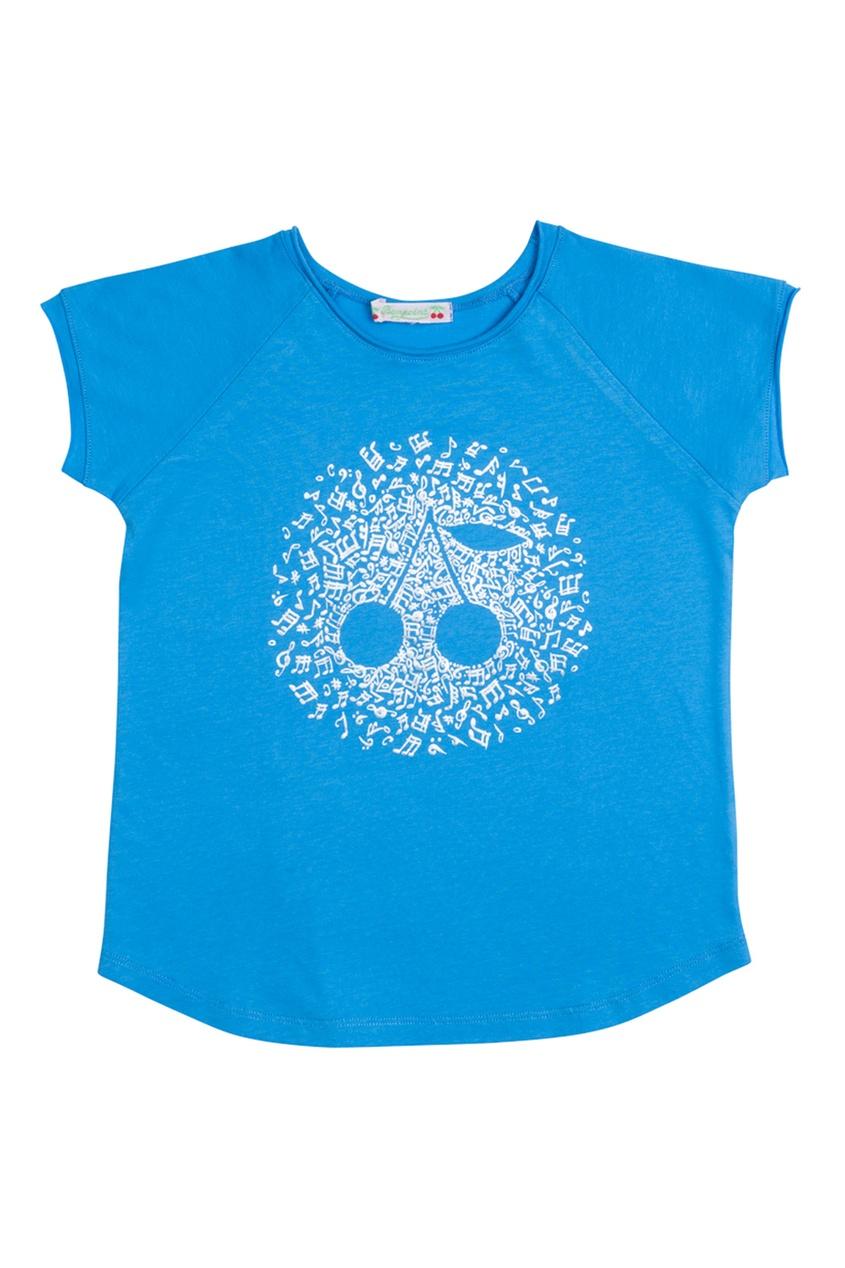 Хлопковая синяя футболка