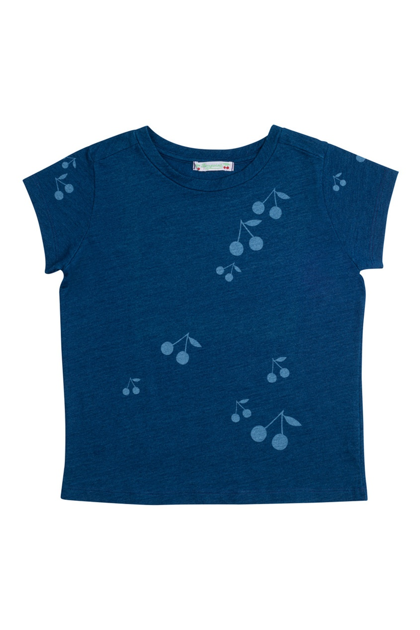 Хлопковая футболка чернильного цвета
