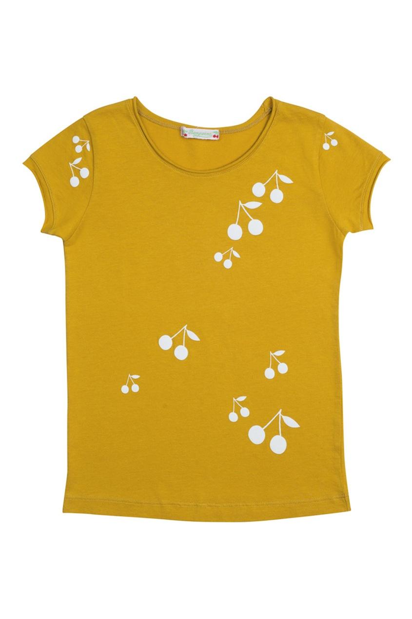 Хлопковая футболка цвета охры