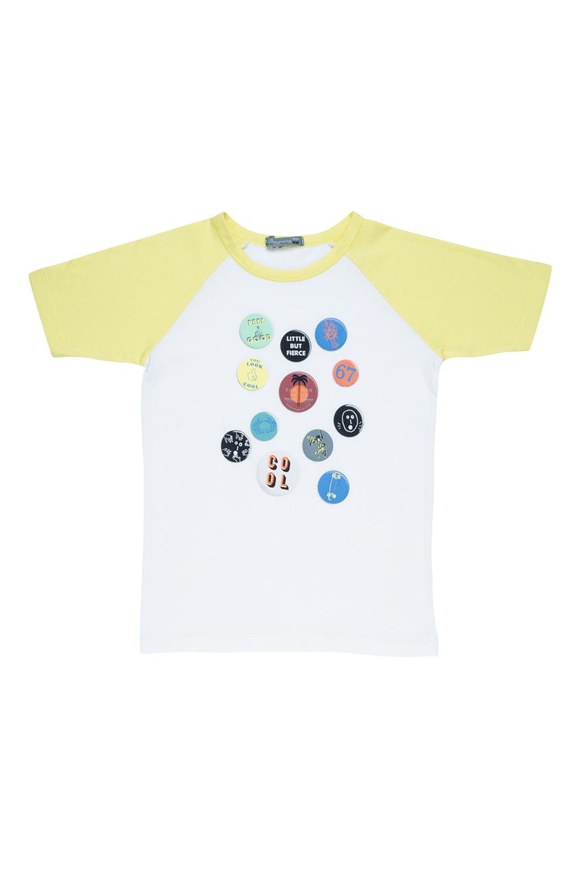 Bonpoint Хлопковая белая футболка с шелкографическим принтом bonpoint кожаный портфель с контрастными деталями