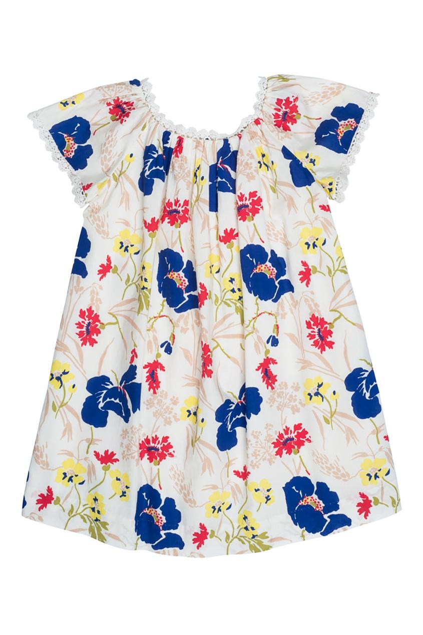 Bonpoint Хлопковое платье с синим принтом GIANNA1 bonpoint кожаный портфель с контрастными деталями