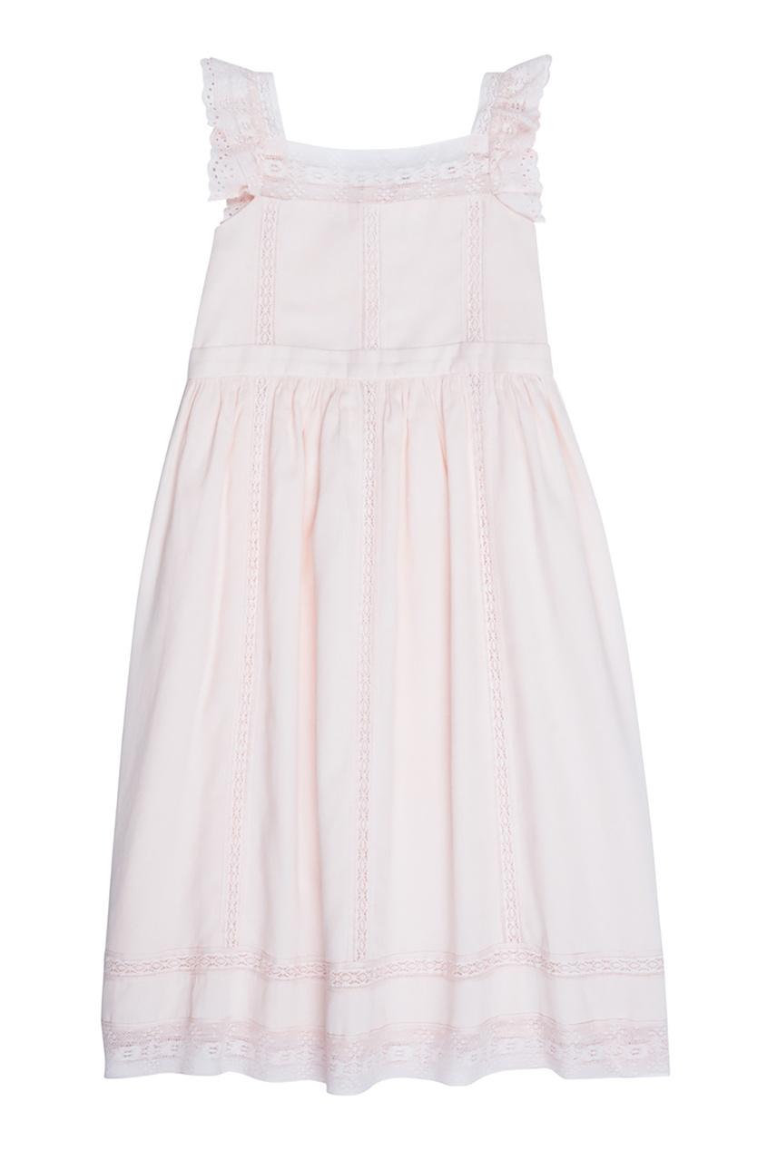 Bonpoint Хлопковое нежно-розовое платье GIGI