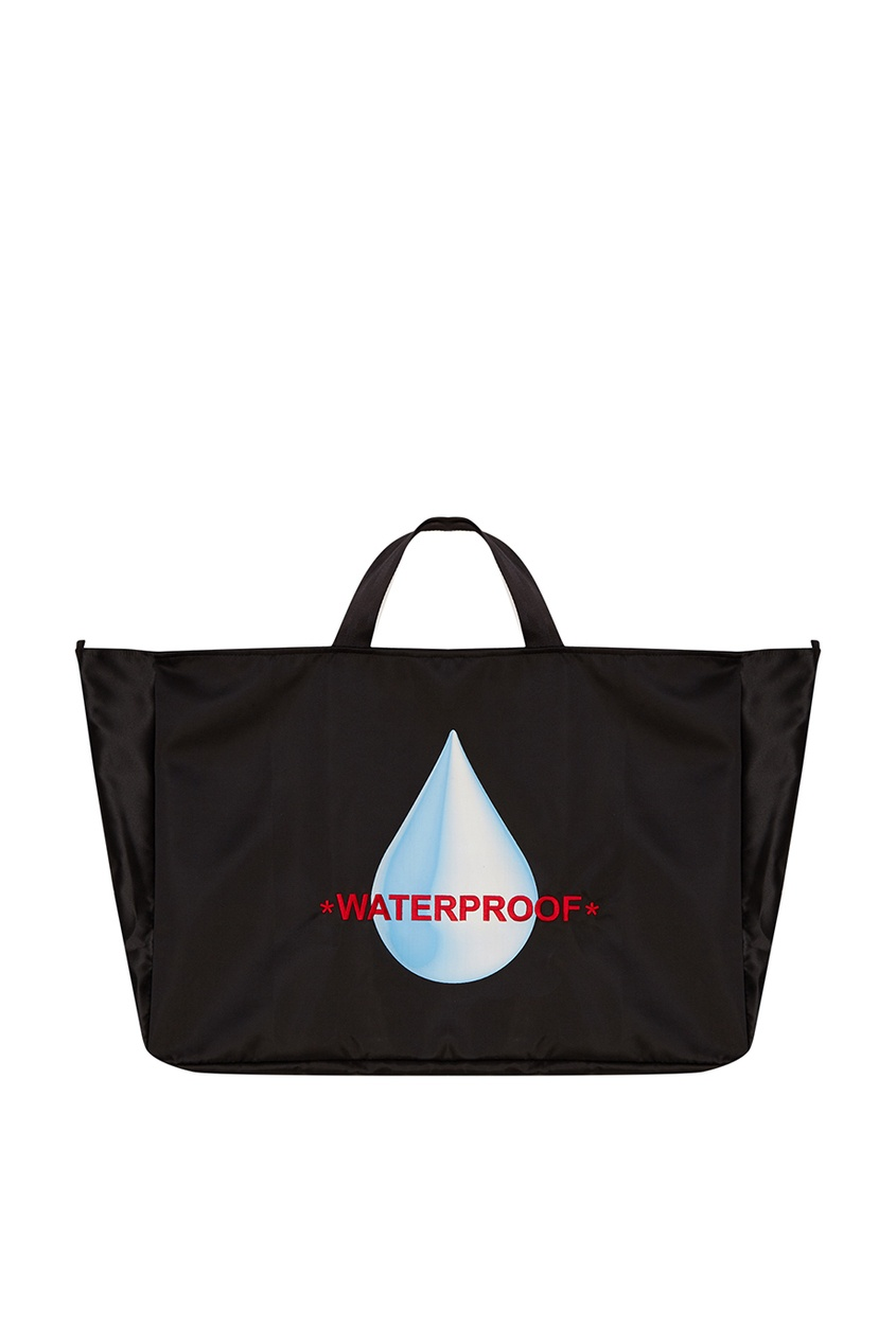 Черная текстильная сумка-шопер с принтом Daily