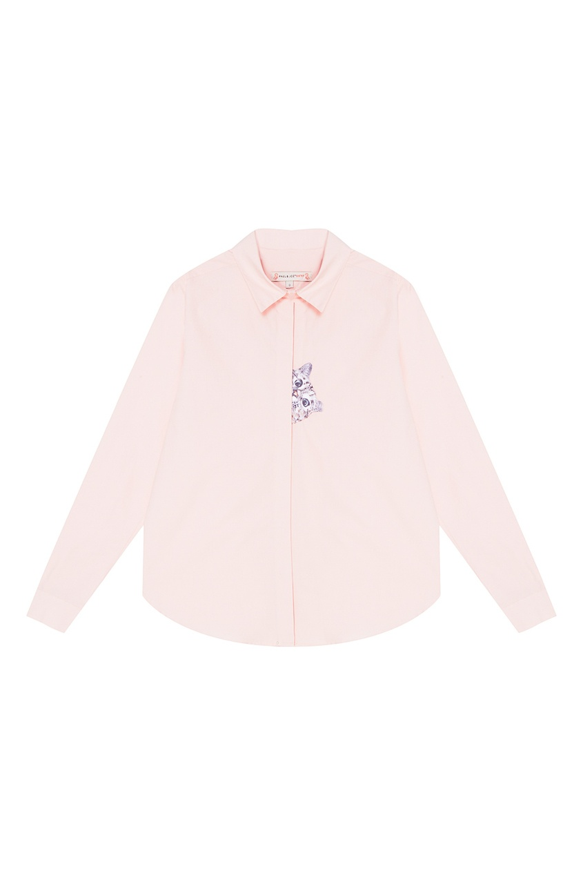 Paul & Joe Sister Розовая рубашка с вышивкой