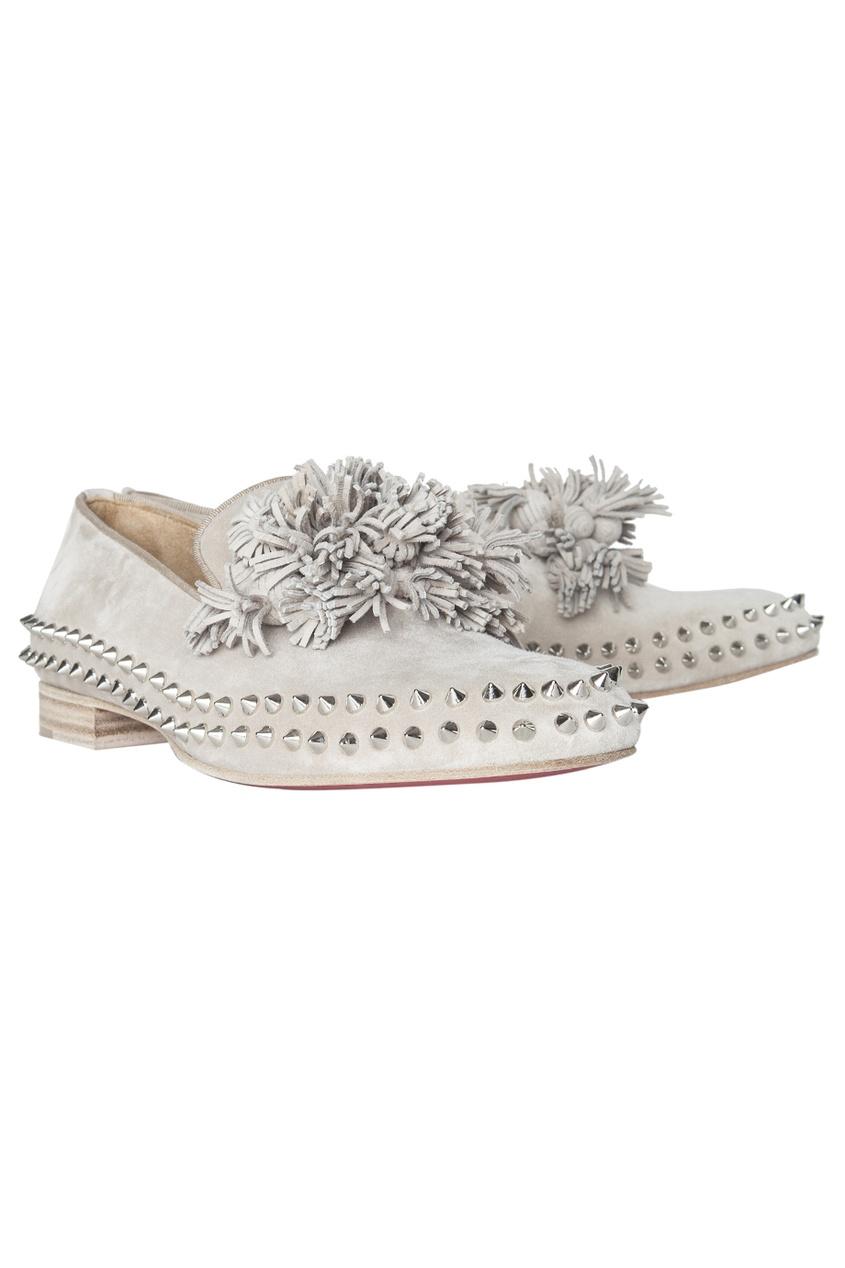 Кожаные ботинки Tassel Spikes Flat Veau Velours