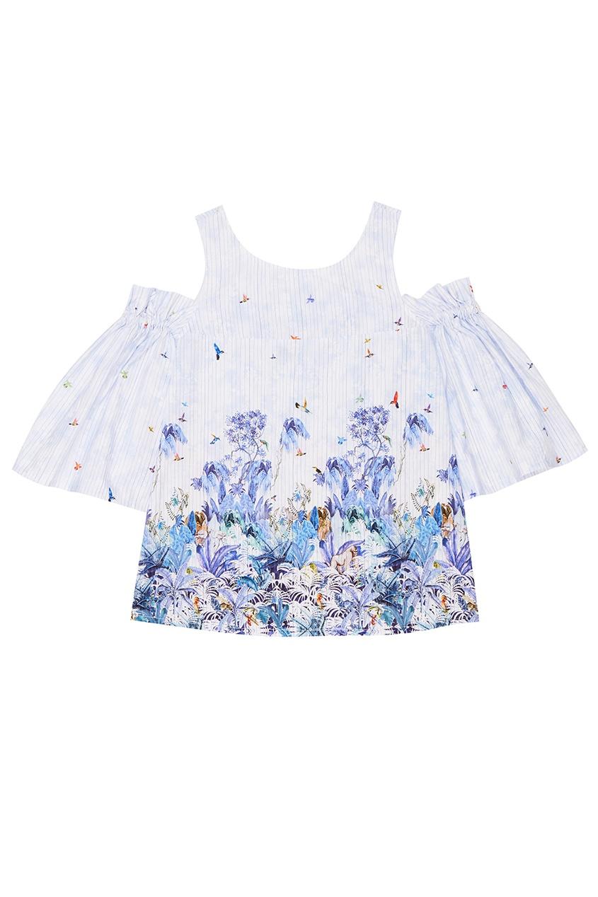 Хлопковая блузка с акварельным принтом
