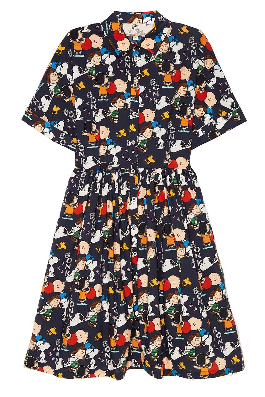 Paul & Joe Sister Хлопковое платье-рубашка с принтом