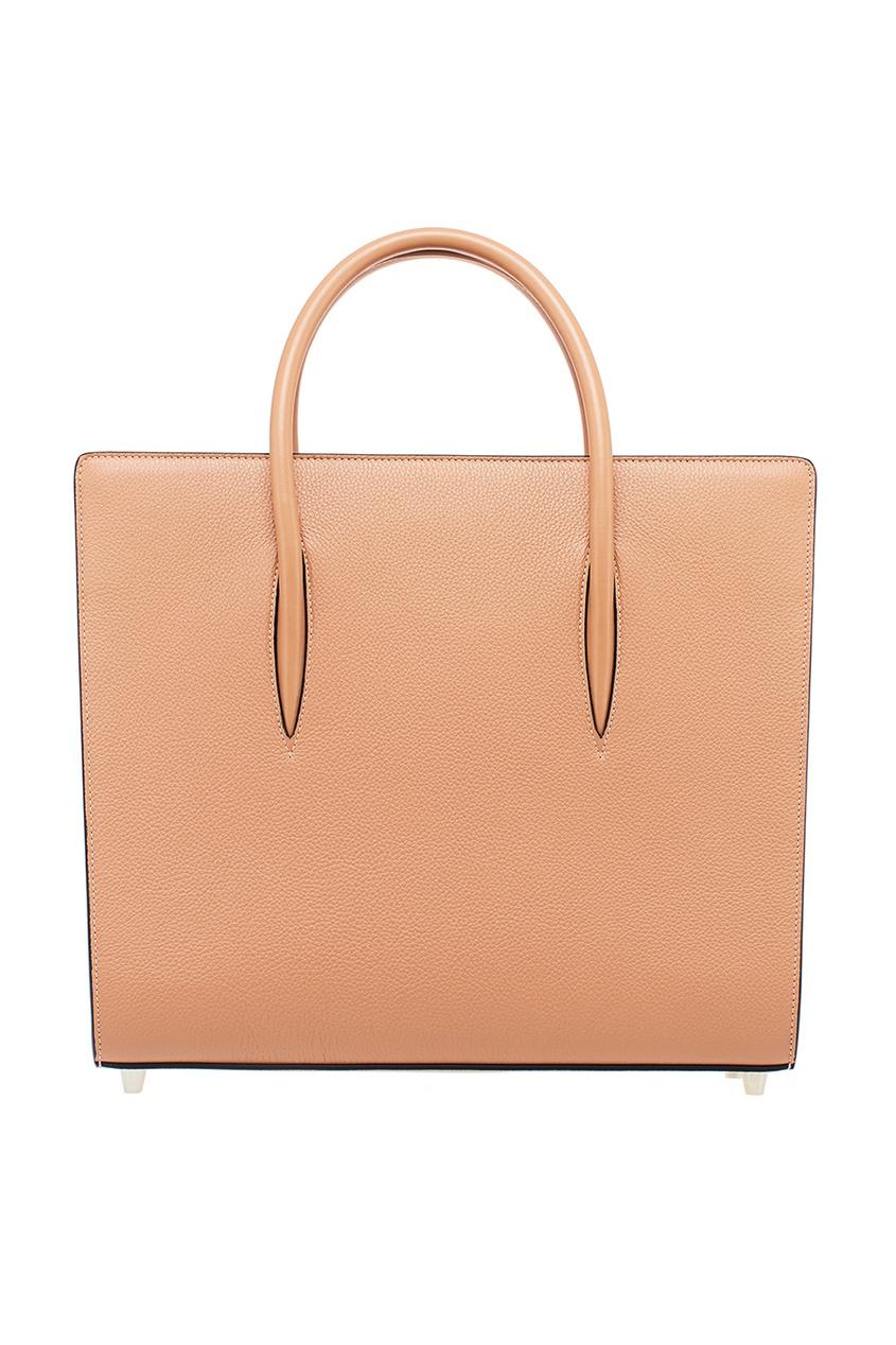 Christian Louboutin Коричневая кожаная сумка Paloma Large