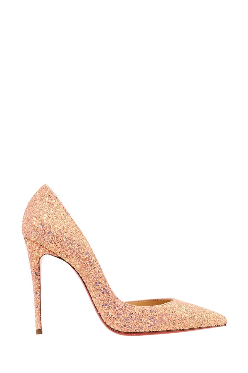 Christian Louboutin Розовые блестящие туфли Iriza 100 christian louboutin черные туфли с глиттером iriza 100
