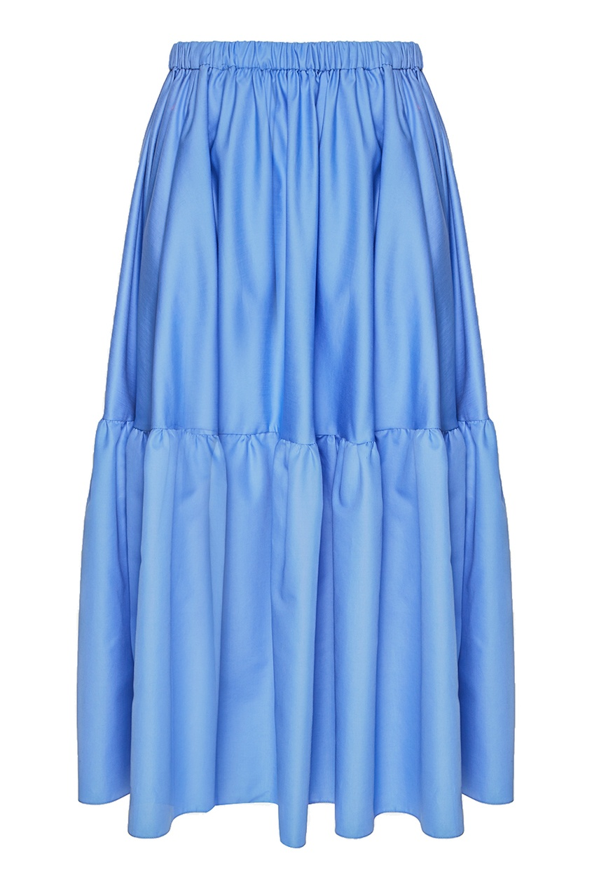 Синяя хлопковая юбка с воланом