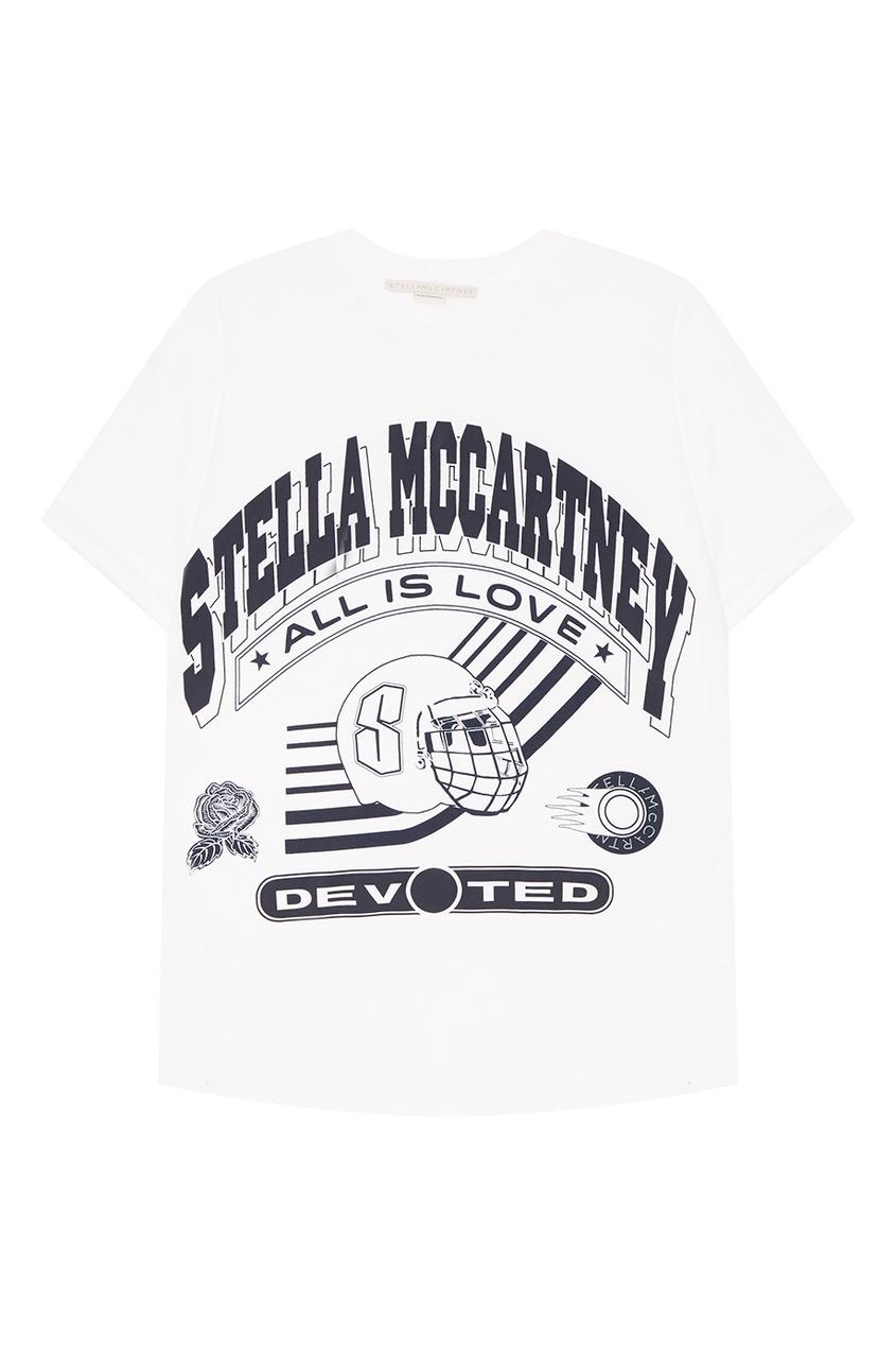 Stella McCartney Белая футболка в хоккейном стиле