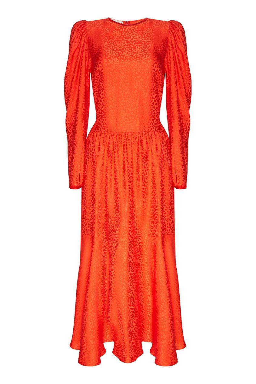 Stella McCartney Красное шелковое платье со сборкой stella mccartney красное платье с асимметричным подолом