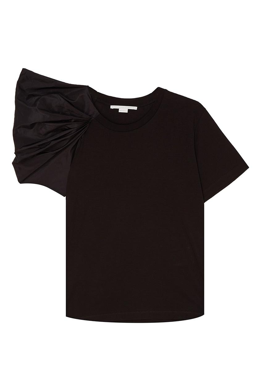Stella McCartney Хлопковая футболка с драпировкой