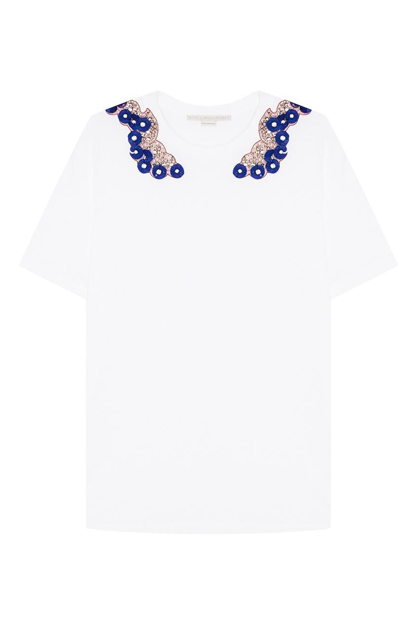 Stella McCartney Хлопковая футболка с вышивкой пайетками stella mccartney белая футболка со звездами