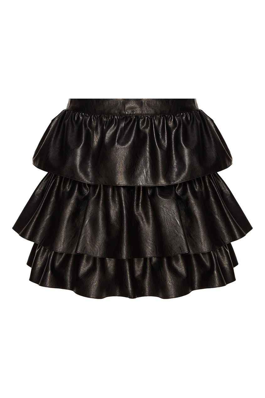 Stella McCartney Черная юбка-мини с воланами stella mccartney юбка мини с воланами