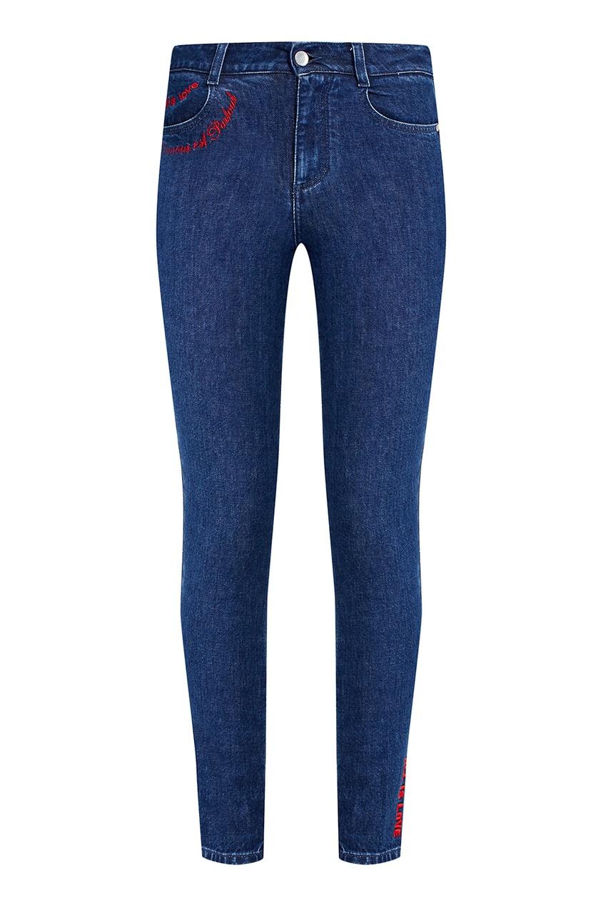 Stella McCartney Синие джинсы-скинни с контрастной вышивкой