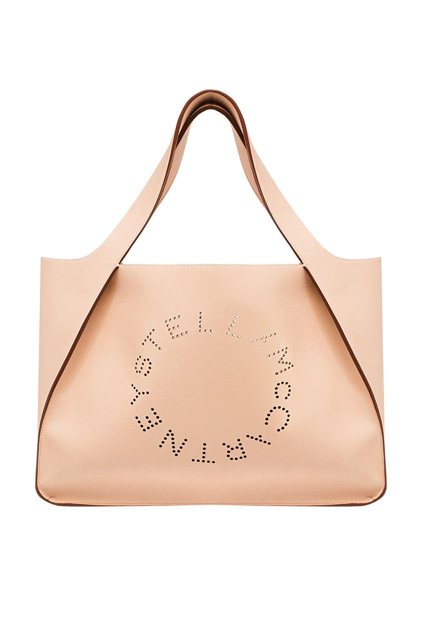 Бежевая сумка-тоут с перфорированным логотипом