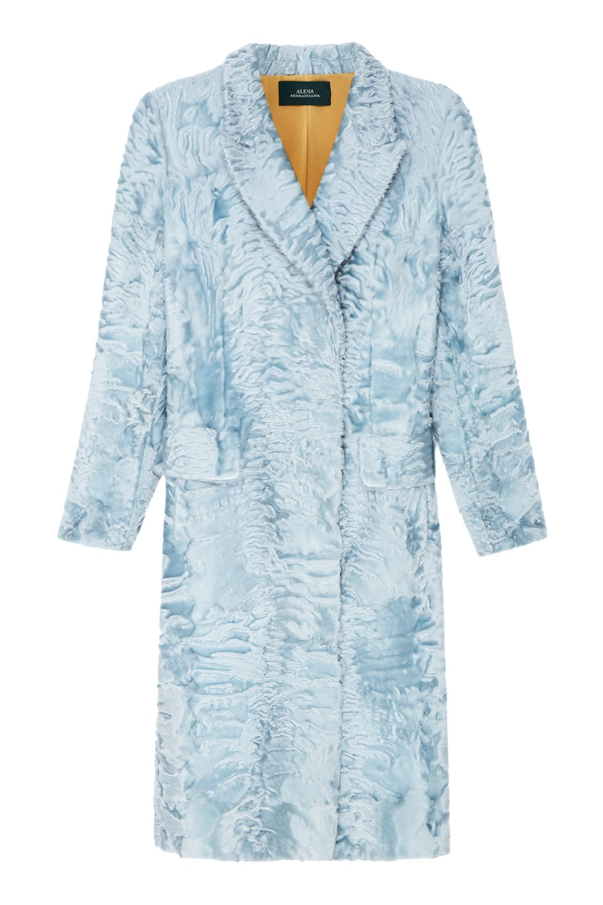 Alena Akhmadullina Пальто из каракульчи светло-голубого цвета лонгслив голубого цвета brums ут 00008817