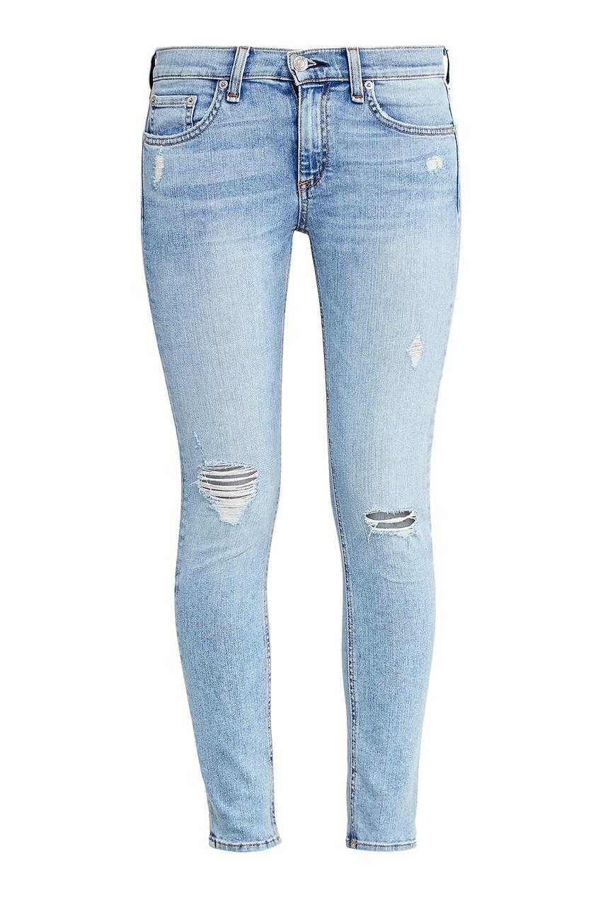 Rag&Bone Голубые джинсы с потертостями full circle джинсы с потертостями