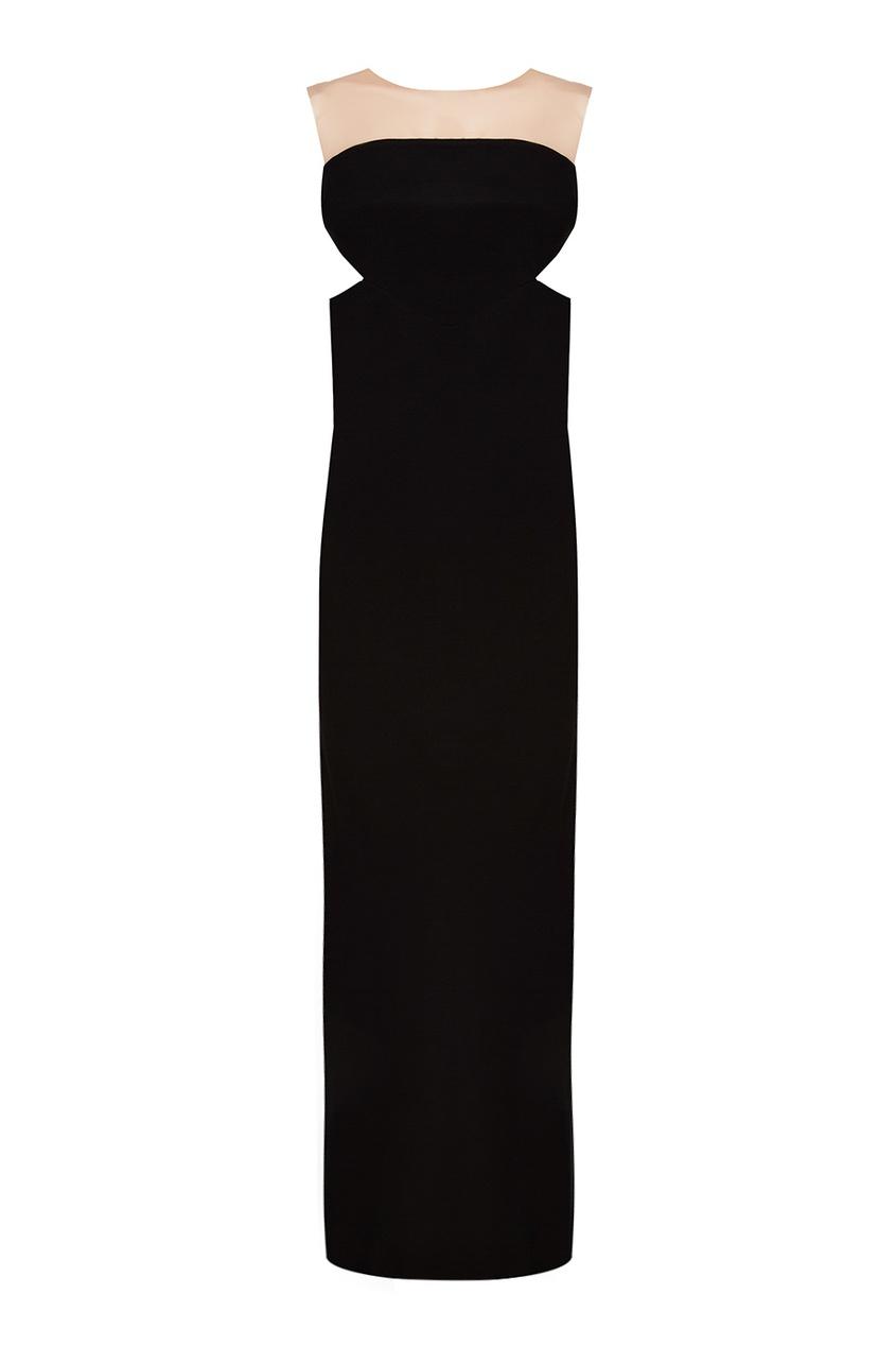 Черное платье с асимметричным подолом