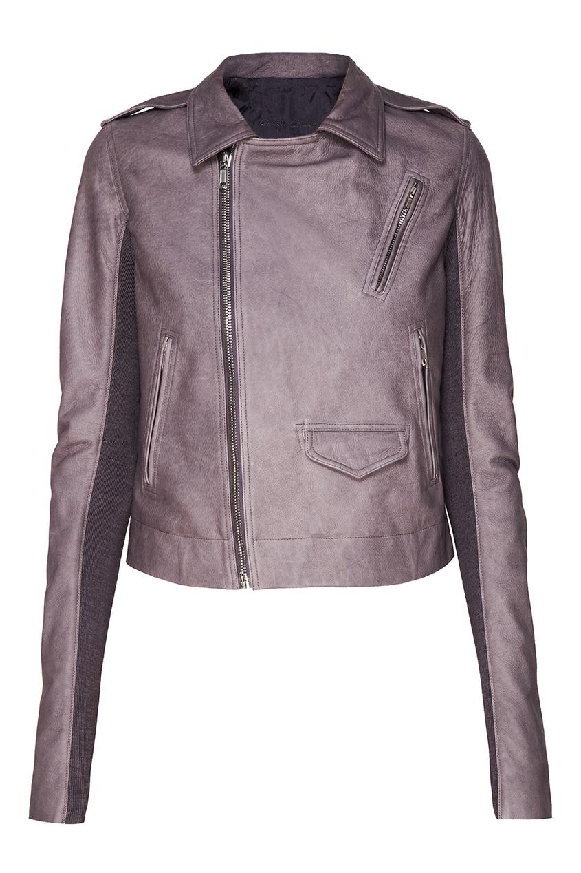 Rick Owens Серая кожаная куртка с карманами куртка темно серая brums ут 00017829