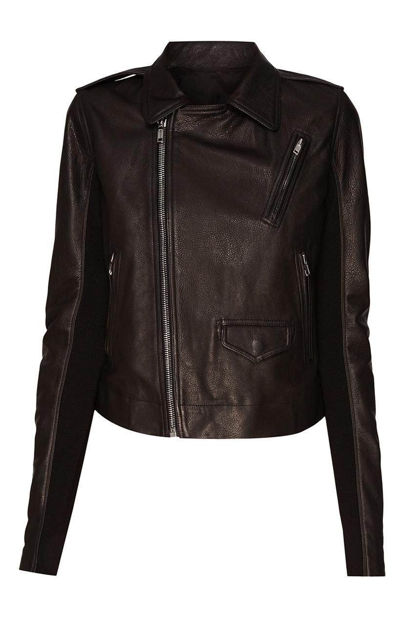 Rick Owens Черная кожаная куртка с карманами кожаная куртка косуха
