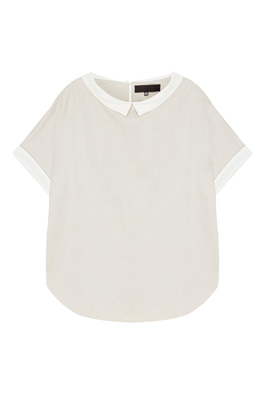 Tegin Серая блузка с белыми деталями tegin льняной топ