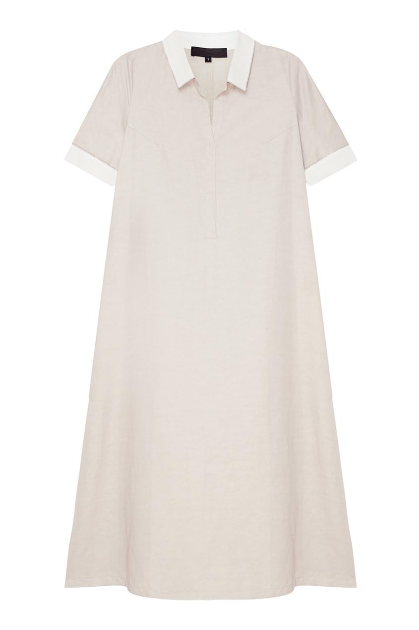 Tegin Серое платье с белыми деталями tegin льняной топ