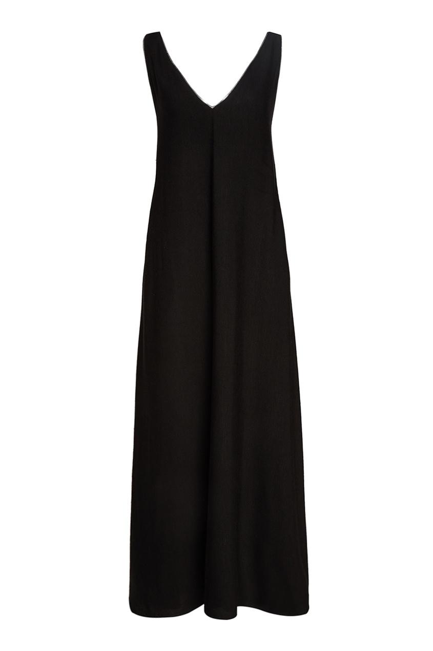 Tegin Черное платье-макси с отделкой цепочками tegin льняной топ