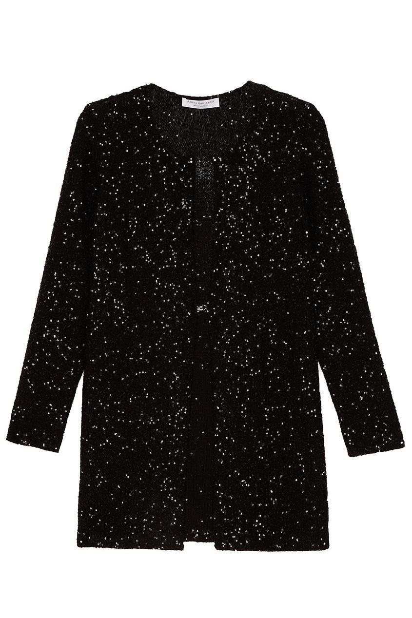 Amina Rubinacci Шелковый кардиган с пайетками Porpora черный корсет с пайетками на молнии 48
