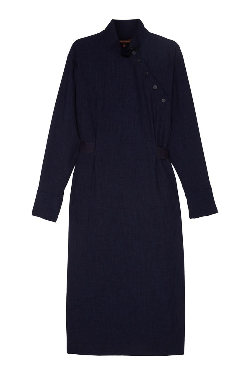 Adolfo Dominguez Темно-синее платье с кнопками fox платье темно синее