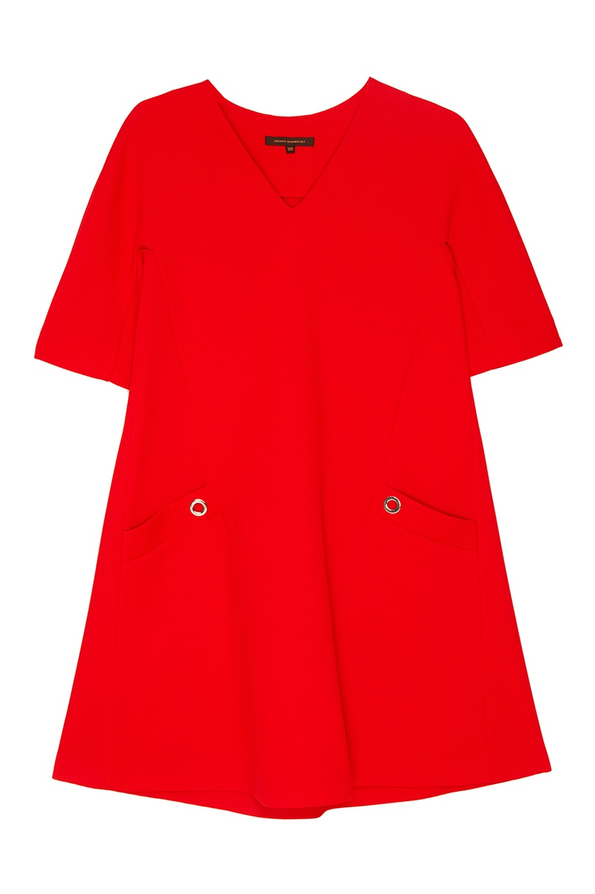 Красное платье-трапеция с карманами